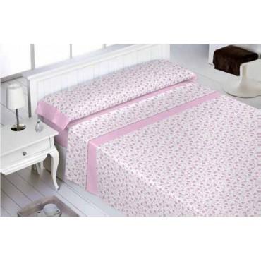 Juego sábanas abece franela Floral rosa