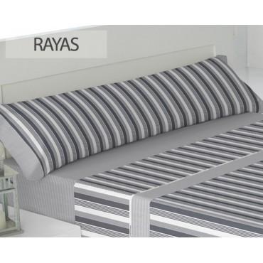 Juego sábanas franela rayas gris PADUANA cama 90