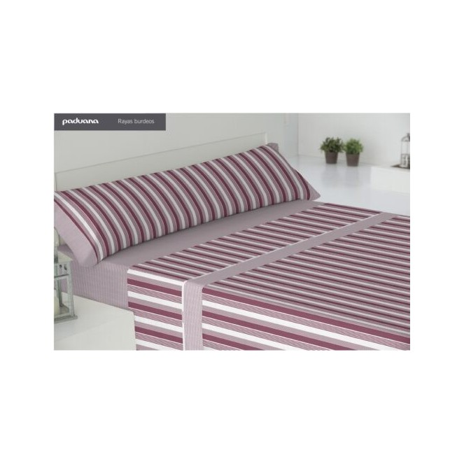 Juego sábanas franela rayas burdeos PADUANA cama 90