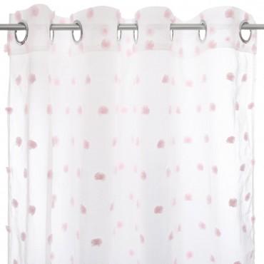 Cortina visillo con ollaos blanca pompon rosa
